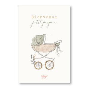 tendrement fé illustration papeterie bohème carte landau bohème vintage petite poupée papillons collection illustrée pailletée naissance aquarelle poétique