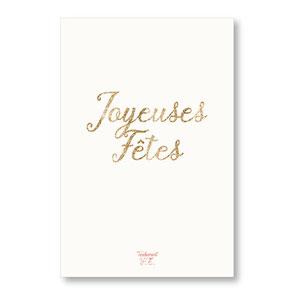tendrement fé illustration papeterie bohème carte Joyeuses Fêtes paillettes or collection les mots pailletés carterie poétique