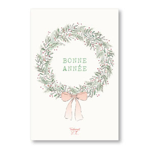 tendrement fé illustration papeterie bohème carte couronne bonne année meilleurs voeux aquarelle collection joyeux noël