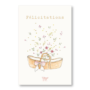 Tendrement Fé - illustration papeterie bohème carte couffin fleuri paillettes or collection illustrée aquarelle fairepart naissance bébé illustratrice