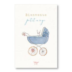 Tendrement Fé - illustration papeterie bohème carte bienvenue landau petit ange collection illustrée aquarelle poétique fairepart naissance nouveau né berceau ancien vintage bébé illustratrice