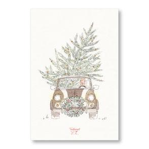 tendrement fé illustration papeterie bohème carte mini austin de noëm collection Joyeux Noël aquarelle