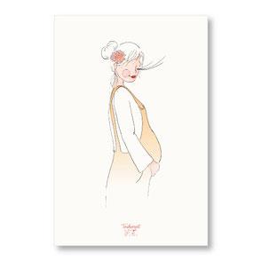 Tendrement Fé Papeterie illustration bohème Carte future maman dessin annonce maternité grossesse aquarelle