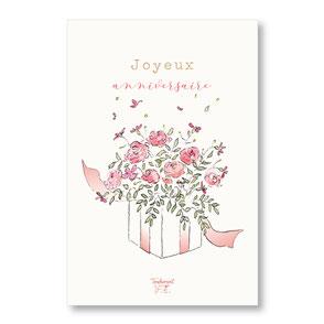 tendrement fé illustration papeterie bohème carte cadeau fleuri joyeux anniversaire aquarelle poétique