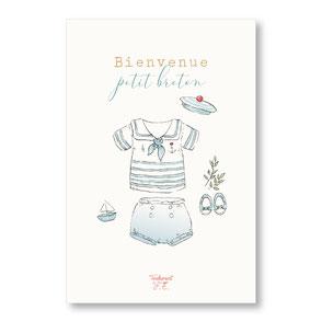 tendrement fé illustration papeterie bohème carte bienvenue petit breton collection illustrée naissance aquarelle poétique fairepart naissance trousseau bébé layette