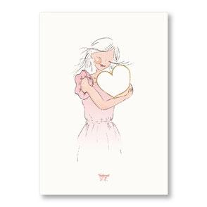 Tendrement Fé - illustration papeterie bohème affiche pailletée or collection illustrée coeur scintillant paillettes aquarelle poétique illustratrice