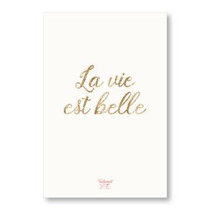 tendrement fé illustration papeterie bohème carte pailletée la vie est belle paillettes or collection les mots pailletés carterie poétique