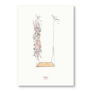 Tendrement Fé - illustration papeterie bohème affiche illustrée balançoire fleurs aquarelle poétique illustratrice