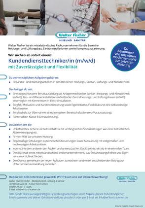 Stellenanzeige Kundendiensttechniker/in