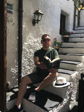 Reading on holiday in Rhodes, July 2019