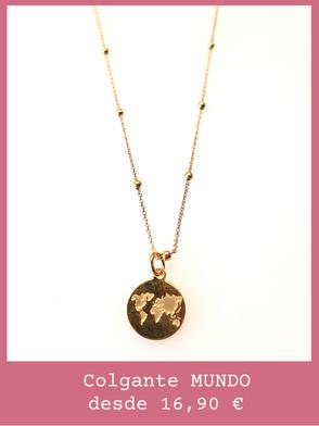Colgante de oro con charm de mundo