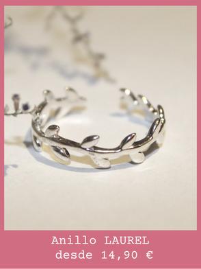 Anillo de plata y forma de rama de laurel