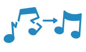 Gebrochene Musiknote wird zu vollständiger Musiknote