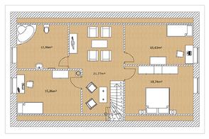 Planansicht Grundriss Modell Malmö 160 Obergeschoss