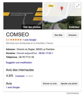 Fiche Entreprise Google My Business