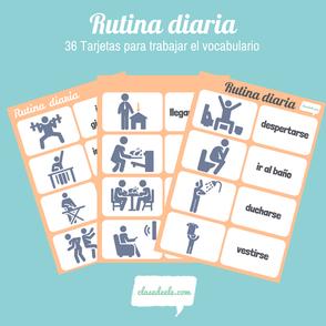Rutina diaria tarjetas de vocabulario