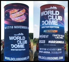 World Club Dome Winteredition, BigCityBeats; Aussenwerbung ; mobile  Werbesäule ; Reklame ; Werbung ; mobile Außenwerbung ; refix GmbH ; advertising ; pillar ; column ; günstig; inovation ; einzigartig ; unique