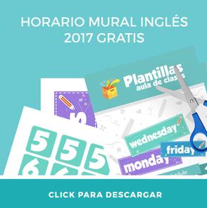 Descarga gratis mural horario ingles para imprimir