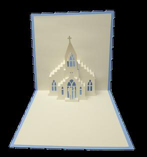 Carte Pop-Up Baptême - Carte kirigami Baptême - Faire-part Baptême