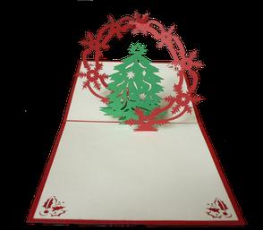Carte de voeux en kirigami sapin et couronne de noël
