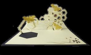 Carte kirigami les petites abeilles