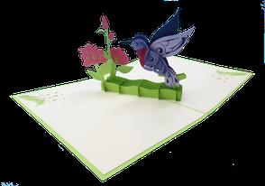 Carte pop-up colibri - carte kirigami colibri
