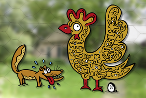 Van Bun Communicatie & Vormgeving - Internetgazet Lommel - Illustraties - Tekeningen - Grafisch ontwerp - Publiciteit - Reclame - Verhip waar zit de kip
