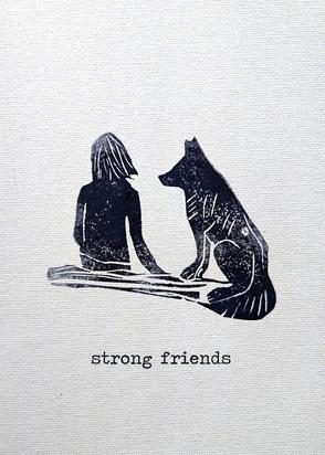 Postkarte, Freunde, Strong Friends, Stempel / Postcard, Strong Friends, Stamp Motif