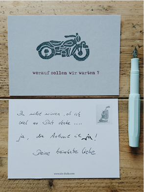 Postkarte, Motorrad, Stempel, Recyclingpapier / Postcard, Motorbike, Stamp Motif, Recycled Paper