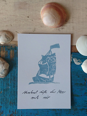 Postkarte, Segelschiff, Stempel / Postcard, Sailing Ship, Stamp Motif