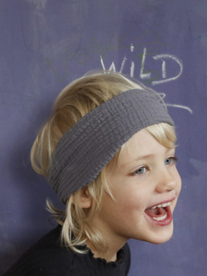 Haarband, Muslin, Grau mit Kupferstrichen, Handbemalt / Bandana, Muslin, Grey with Copper Lines, Hand-painted