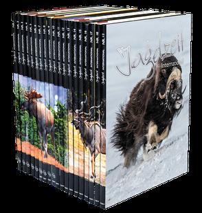 Jagdzeit International mit Sammlerrücken und Bildern von Wildarten