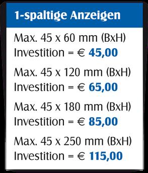 Gestaltungspreise für 1-spaltige Anzeigen.