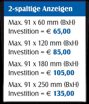 Gestaltungspreise für 2-spaltige Anzeigen.