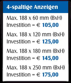 Gestaltungspreise für 4-spaltige Anzeigen.