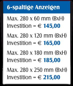 Gestaltungspreise für 6-spaltige Anzeigen.