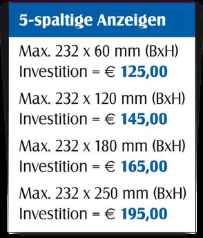 Gestaltungspreise für 5-spaltige Anzeigen.