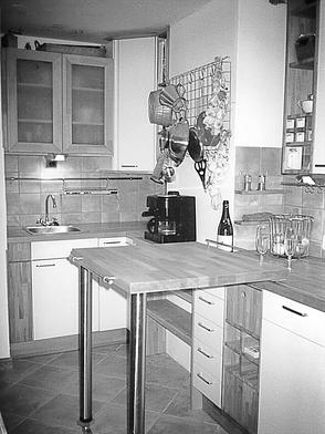 Küche, Buchenholz, mobile Arbeitsfläche