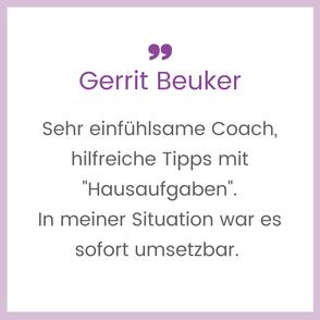 """Klientenbewertung: Sehr einfühlsame Coach, hilfreiche Tipps mit """"Hausaufgaben"""". In meiner Situation war es sofort umsetzbar."""