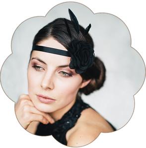 Haarband mit Haarblüte und Federn in Schwarz  für Gala, Bälle, Hochzeiten, Feste, Oper...