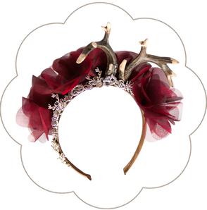 Blüten Haarreif mit Edelweiss, Brezen, Hirschgeweih und Trachten Deko. Seidenblüten Haarkranz Oktoberfest, Tracht, Sommerfest, Waldfest. Blütenhaarkranz.