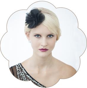 Haarblüte in Schwarz aus Seide für Gala, Bälle, Hochzeiten, Feste, Oper...