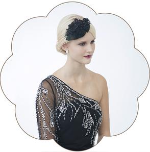 20er Jahre Kopfschmuck aus Spitze und Federn in schwarz. Vintage - Gatsby, style in black.