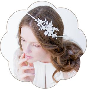 Haarband Bohemian Boho 20er Jahre Brauthaarschmuck aus Spitze. Kopfschmuck aus Spitze  in Ivory.Headpiece wedding. Lace hair accessorie for the boho look.