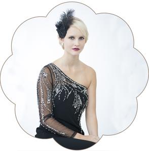 20er Jahre Kopfschmuck aus Spitze und Federn in Schwarz. Kopfschmuck Vintage - Gatsby Style für Silvester, Fasching oder Weihnachten!