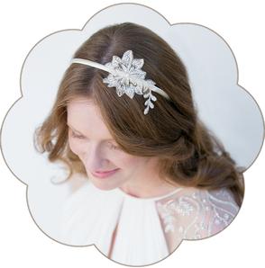 Vintage-Haarreif: edler Haarreif aus feinster Spitze. Haarreifen ivory für Hochzeiten und Standesamt. Lace headband, Hairaccessoires wedding.