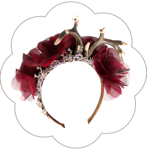 Oktoberfest Haarschmuck: Blüten Haarreif mit Edelweiss, Brezen, Hirschgeweih und Trachten Deko. Seidenblüten Haarkranz Oktoberfest, Tracht, Sommerfest, Waldfest. Blütenhaarkranz.