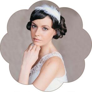 Haarreif mit Federn für Hochzeit und Standesamt im 20er Jahre Style. Headpiece 20ies style wedding.