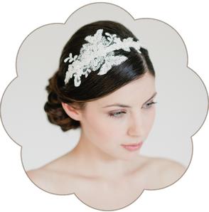 Boho Bohemian Vintage-Haarreif: edler Haarreif aus feinster Spitze. Haarreifen ivory für Hochzeiten und Standesamt. Lace Hairaccessoires wedding.
