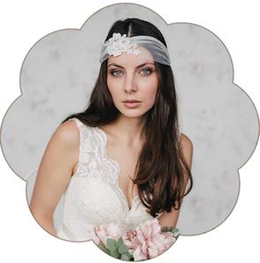 Haarband aus Tüll mit Spitze für eine moderne, bohemian, boho, 20er Jahre Hochzeit und Braut. Boho, Bohemian, Vintage Hochzeit.